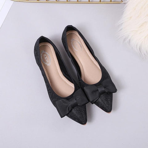 Casual Slip On Loafers Pointy Ballerina Bling Shiny Bow Flats Shoes