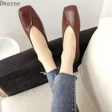 square head shallow mouth Flat shoes