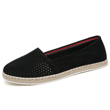 Split Leather Hollow Out  Flat Shoes