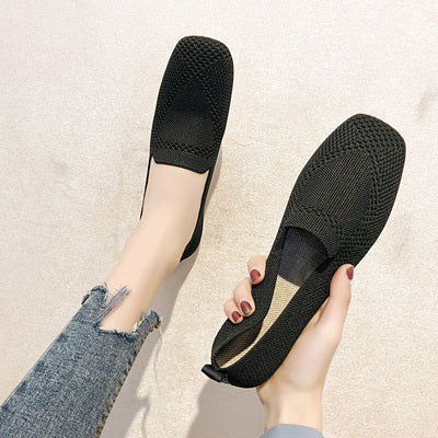 Slip On Flat Loafers Square Toe Shallow Ballet Flats Shoes