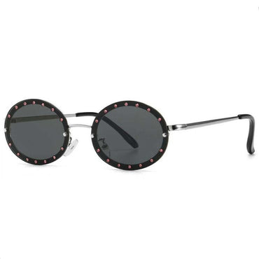 Crystal Over Vintage Diamond Round Sun Glasses