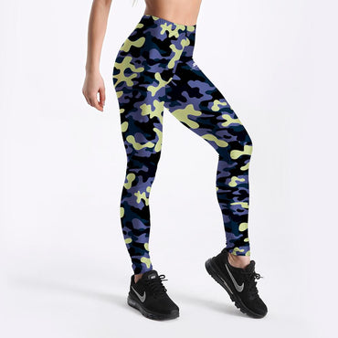 Camouflage Pattern Workout Polyester Breathable Push Up Fitness Leggings