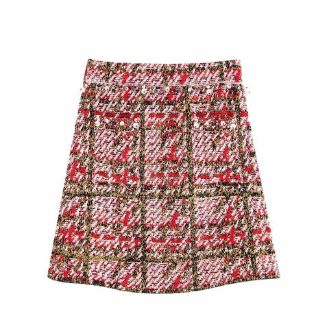 Vintage Chic Faux Pearl Beading Plaid Mini Skirt