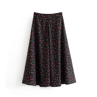 england style vintage floral print high waist A-line loose ankle-length long skirts