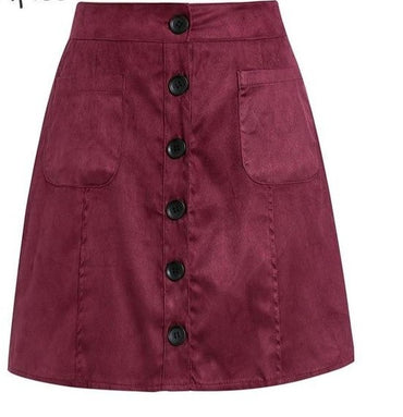 A-line suede leather short skirt