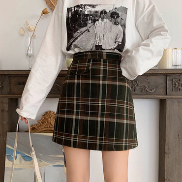 Plaid Woolen Skirt