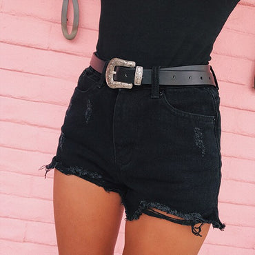 Casual Black Ripped Denim Shorts