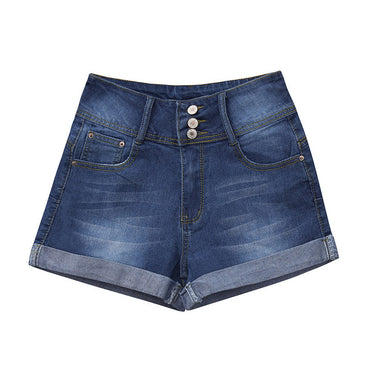 Mid Waist Washed Solid Mini Jeans Denim Short