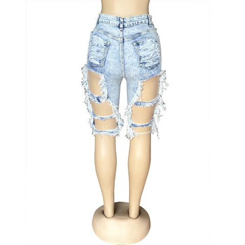 High Waist Hole Knee Length Denim Shorts