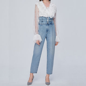 Casual Straight High Waist With Belt Trousers Pants Jeans