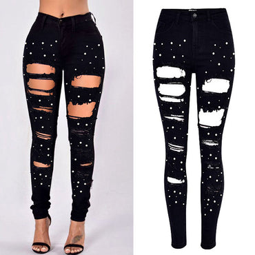High Waist Pearl Jeans
