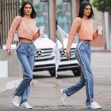 Retro casual full pants high waist slim straight Jeans