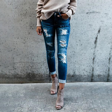 High Waist Skinny Pencil Blue Denim Pants spliced Zipper washed Jeans