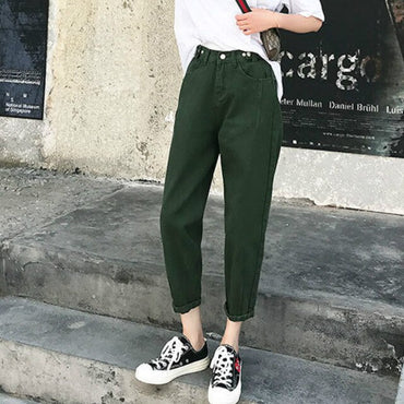 High waist Elastic Denim trousers ripped jeans