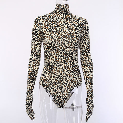 Leopard Print Sexy Skinny Elastic Turtleneck Long Sleeve Gloves BodySuit