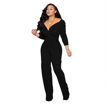 Sexy V Neck Office Solid Long Sleeve Tunic Party Wide Leg Jumpsuit