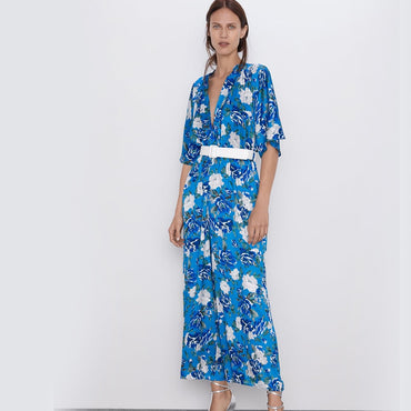 Printing Flower Sashes Elegant Short Sleeve V-Neck Blue Casual Loose Long Jumpsuit