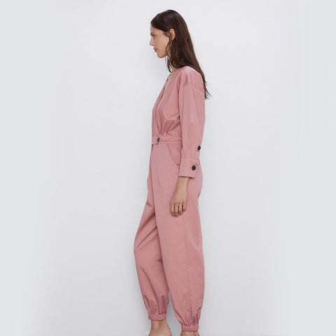 Solid V-Neck Button Full Sleeve Causal Loose Rompers Belted Jumpsuits