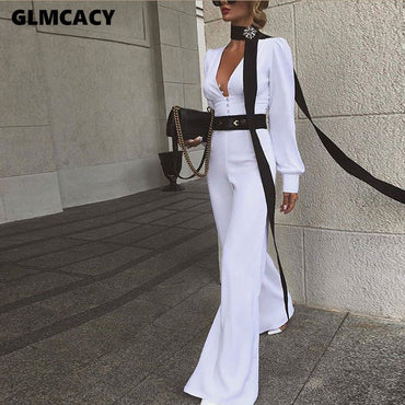 Long Sleeve V Neck Jumpsuit