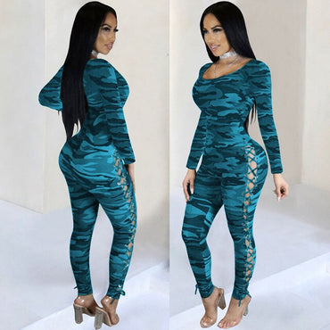 Long Sleeve Camouflage Side Corns Slinky Jumpsuit