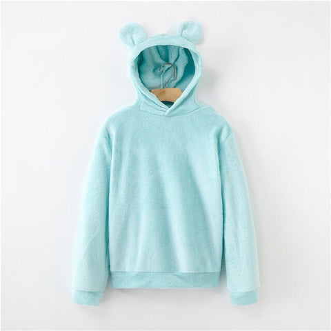 Lovely Bears Ears Solid Teddy Hoodie