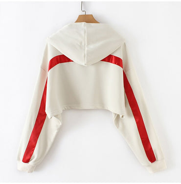 White Casual Striped Crop Sweatshirt Hooded