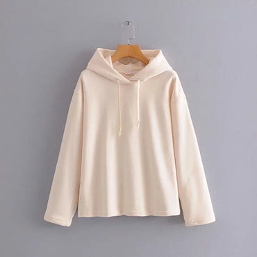 simple solid hooded forking cotton terry oversize loose hoodies
