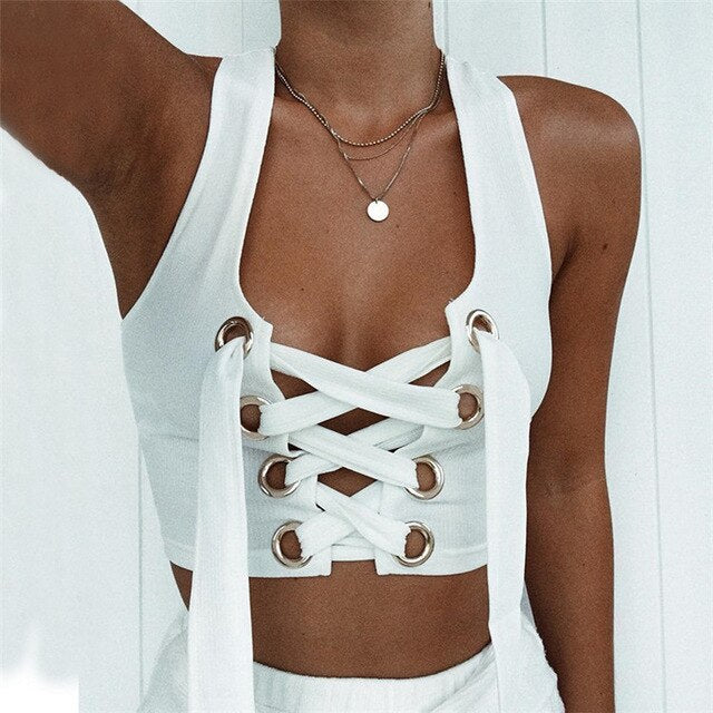 Sexy Strapless Solid Front Bandage Cross Up Sleeveless Short Tank Tops