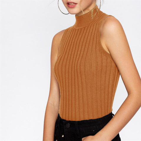 High Neck Ribbed Knit Vest Casual Turtleneck Tank Tops