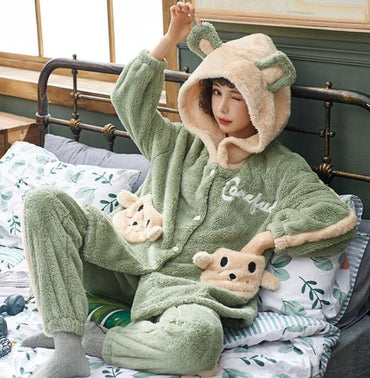 Animal Thick  Pajamas Set Sleepwear