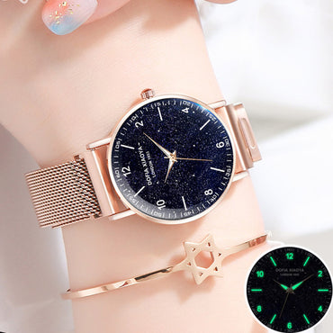 Magnetic Rose Gold Starry Sky Watch