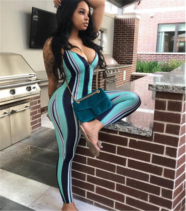 Sleeveless Strap Striped Jumpsuit Rompers
