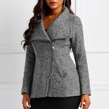 Casual Wool Elegant Slim Lapel Zipper Pocket Jackets & Coats