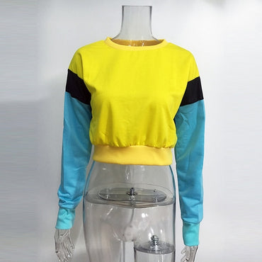 Patchwork Yellow Sexy Crop Top Hoodies