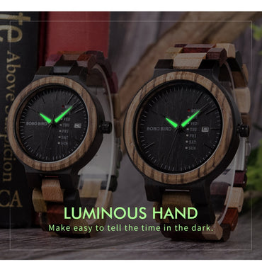 Wood watch Lover Couple Watches Show Date Ladies Wristwatch  Quartz