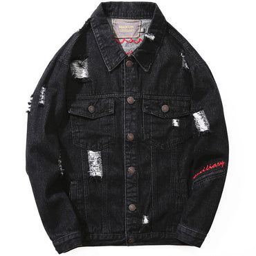 Vintage Black Color Destroyed Ripped Denim Jackets