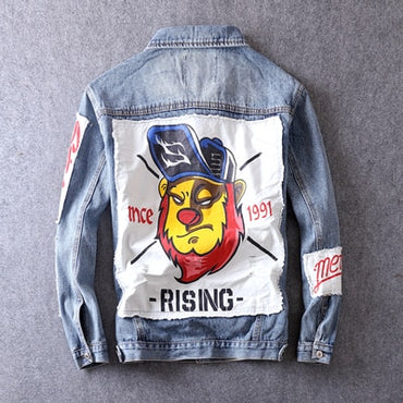 Patches Printed Designer Casual Outwear Cotton Coats Hip Hop Denim Jackets