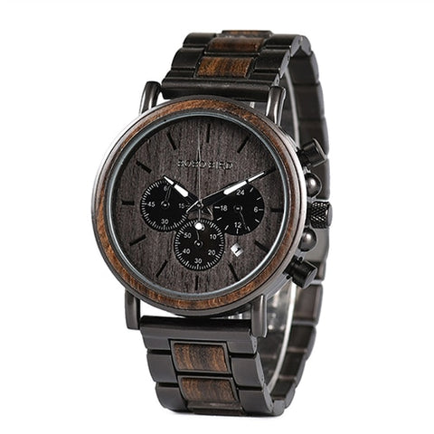 Stopwatch Chronograph  Show Date Wooden Quartz Wristwatch