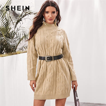 Khaki High Neck Cable Knit Sweater Dress