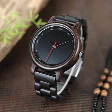 Ebony Watch Men Waterproof Wristwatch Movement Clock Simple Wooden Strap Wristwatch