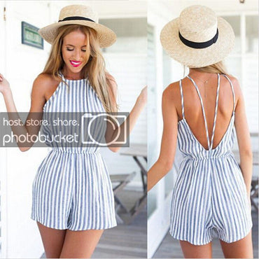 Stylish Striped Halter Neck Sleeveless Mini Playsuit Jumpsuit Shorts Rompers