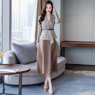 Temperament Slim Plaid Jacket Blazer skirts