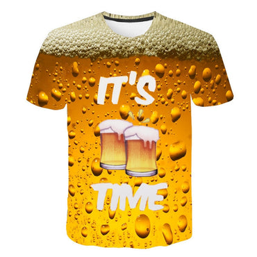 3D Beer Time Short Sleeve Novelty Water Pattern O-Neck T-shirt