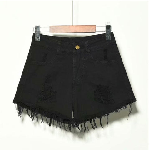 Lace-up Denim Shorts