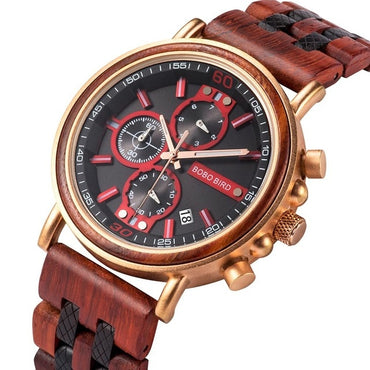 Luxury Chronograph Customize Watches Anniversary Christmas Gift Wood Watches