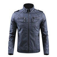 PU Leather Thick Warm Winter Outwear Vintage Classic Motorcycle Denim Jacket