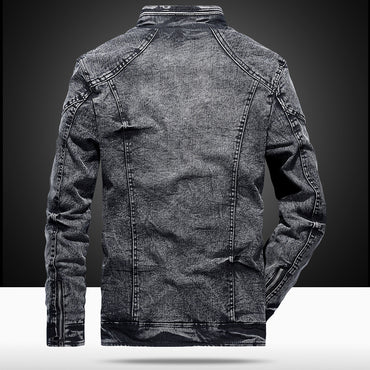 Zip Stand Collar Casual  Denim Jacket