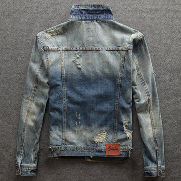 Retro Washed Destroyed Designer Ripped Denim Jacket