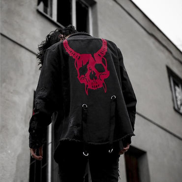 Casual Black Street-wear Destroy Denim Jackets