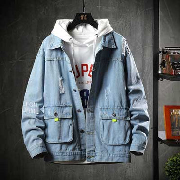 Korea  tide brand tooling handsome big size denim jacket